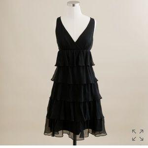 J. Crew Black Silk Chiffon Dress - Size 8P